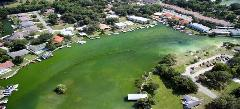 "Photo of Hunter Spring in Citrus County, which clearly shows how excessive nutrient inputs from surrounding land uses have resulted in a ""greening"" of the once blue waters."
